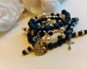 In The Navy Rosary Charm Bracelet/Wrap Around/Beads/Crucifix Silver/Madonna/Christ/Catholic/HandmadeMWB-R#0148 Fit Medium/Large Wrist!