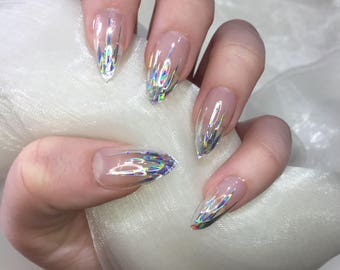 Clear holographic spike stiletto press on false nails