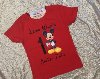 Mickey Mouse Birthday Shirt -Mickey Mouse Birthday outfit - Mickey Mouse first birthday shirt, Mickey Mouse Birthday onesie