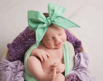 SEAFOAM Gorgeous Wrap- headwrap; fabric head wrap; green head wrap; boho; newborn headband; baby headband; toddler headband