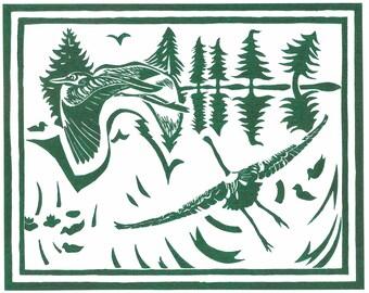 "8 x 10"" Laser Print of ""Herons Alight"" (green)"