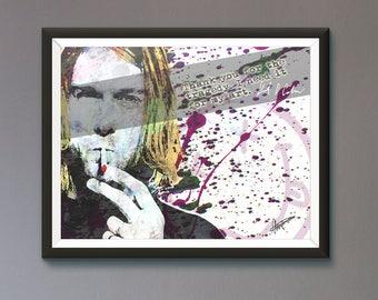 Kurt Cobain Nirvana Wall Art Print / Poster Original Design A3, A2, A1, A0