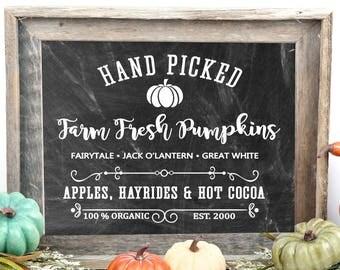 Farmhouse Fall Sign, Farmhouse Wall Art Print, Rustic Pumpkin Decor, Sign, Farm Fresh Pumpkins