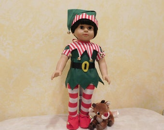 Christmas Elf Costume for 18 inch dolls