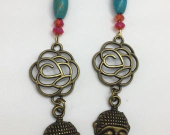Meditating Head Buddha Earrings, Bronze Earrings, Spiritual Earrings, Zen Earrings, Symbolic Earrings, Mother's Day Gift,