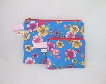 Handbag or pouch + blue, pink and yellow floral wallet - spring set - was