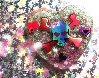 Pink Skull Glitter Necklace, Big Heart, Skull Crossbones Pendant, Large Pendant, Resin Glitter Jewelry