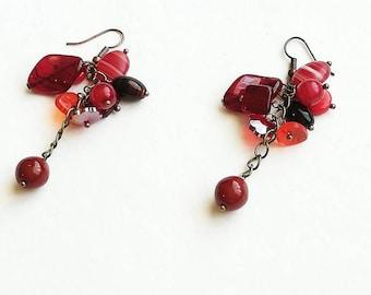 Red Czech glass beads earrings boho medium long bronze handmade earrings deep drop earrings handmade Czech glass beads earrings gift for her