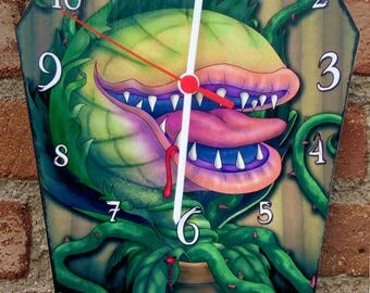 Coffin shaped clock -Audrey 2 - Little shop of horrors movie. Handmade wooden wall clock. Gothic decoration. Horror film clock