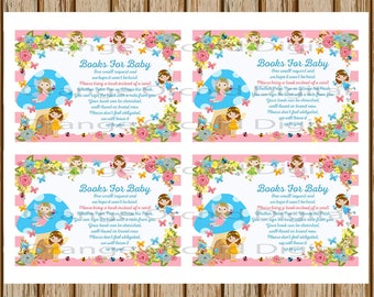 INSTANT DOWNLOAD- Fairy Books For Baby Card- Fairy Books For Baby- Books for Baby Request-8.5 x 11 size-Print Your Own-Digital