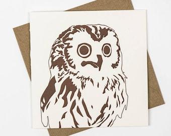Owl card - Woodland - Birthday Card - Little owl - Letterpress card - Letterpress Thank you