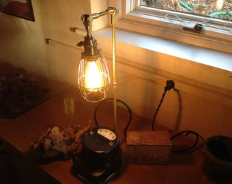 Steampunk Industrial Table Lamp / Electrical MeterBase