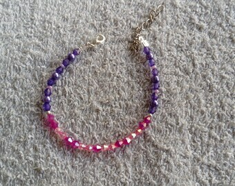 Bracelet pink and purple beads