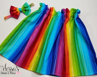 Rainbow Skirt, Rainbow Girls Skirt, Toddler Rainbow Skirt, Baby Rainbow Skirt, Unicorn Rainbow Skirt, Party Rainbow Skirt, Birthday Rainbow