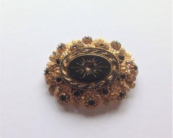 Vintage Brooch, Black Brooch, Gold Tone Brooch, 'Sphinx' Brooch, Vintage Gift