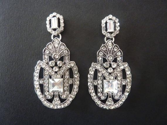 art deco earrings great gatsby earrings vintage earrings art