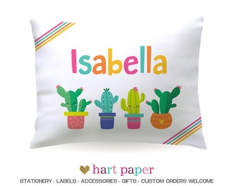Cactus Rainbow Pillowcase Pillow Case Cover Standard 20x30 Bedroom Bedding Bed Birthday Name Gift Boy Girl Kids Personalized Custom