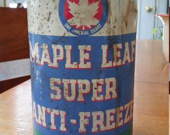 Vintage Automotive Maple Leaf Anti Freeze Can Garage Oil Service Station