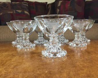 Anchor Hocking Boopie Gray Cut Grapes AHC112 Champagne/Tall Sherbet Glasses Set of 8