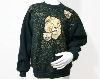 Vintage Lion and Tiger Sweatshirt 90s animal sweater Crew Neck - Color Green - Size XL