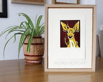 "Original Print. ""Innocence spirit"" Reduction linocut. SuperAlfa 250gr. 28 x 19 cm"