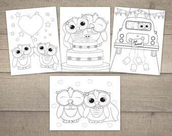 Wedding Coloring Pages Printable Activity Page Owl