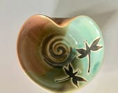 Pottery, Dragonfly, Heart, Wheel Thrown, Jewelry Dish, or Soap Dish.