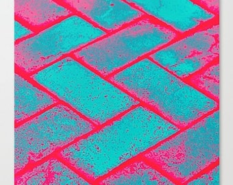 Canvas Print, neon pink, city pavement decor, print on canvas, stretched canvas, pink home decor, turquoise print, urban modern print