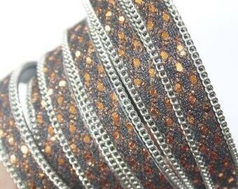 Flat ribbon glitter width 10mm - rust / black