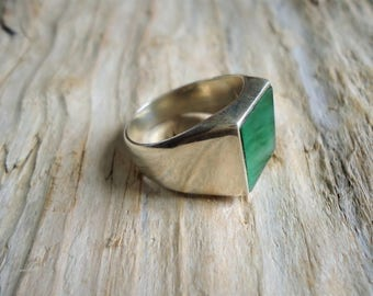 Pinky ring 925% Silver and green agate square chavallier, men's ring, pinky ring ring unisex