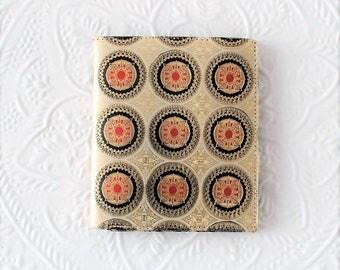 Lady wallet gold purse, change coins money organizer, boho chic wallet, vintage bill fold spanish leather, gold embossed mandala decor, 1970