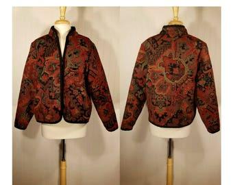Womens vintage coat, tapestry coat, carpet coat, ethnic coat, floral coat, boho jacket, hippie jacket, festival jacket, Renaissance, folk L
