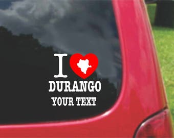 2 Pieces I Love Durango Mexico Stickers Decals 20 Colors To Choose From.  Free U.S.A Free Shipping