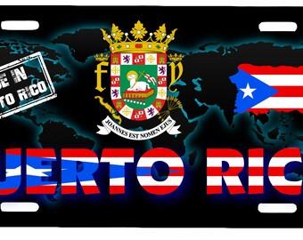 """Puerto Rico Aluminum License Plate Placa  6"""" x 12"""""""