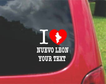 2 Pieces I Love Nuevo Leon Mexico Stickers Decals 20 Colors To Choose From.  Free U.S.A Free Shipping