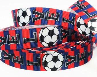 "7/8"" inch LOVE SOCCER Blue Red Barcelona Colors Sports Printed Grosgrain Ribbon for Hair Bow - Original Design"