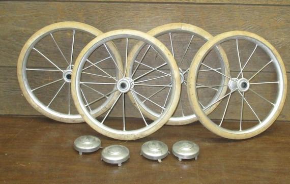 4 Vintage Metal Spoke Baby Buggy Wheels Pedal Car Garden Cart