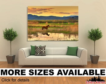 Wall Art Giclee Canvas Picture Print Gallery Wrap Ready to Hang Lone horse afternoon landscape 60x40 48x32 36x24 24x16 18x12 3.2