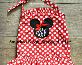 Girls Minnie Mouse Swimsuit- Monogrammed Red Polka Dot 1-piece Swim Birthday! Disney by Smocked A Lot