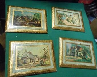 4 Gold Leaf Old Village Scenes