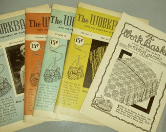 Set of 5 Workbasket Magazines / 1951 / 1948 / Needlecraft / Knitting / Crochet / Home Goods / DIY