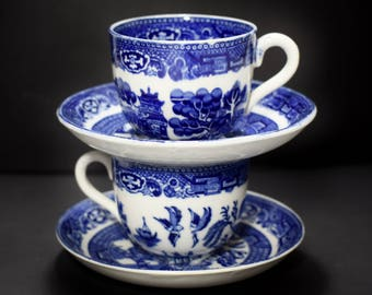 English Blue Willow Allertons Blue & White Demitasse Set of 2 Cups and Saucers Tea / Espresso for Two - Last minute Gift for your Valentine