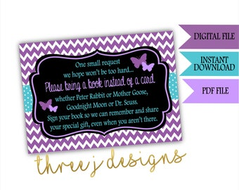 Butterfly Baby Shower Books for Baby Cards - INSTANT DOWNLOAD - Purple and Teal - Digital File - J001