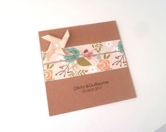 Wedding, birth, baptism - greeting card, 15 x 15 cm windmill handmade