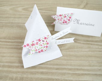 Hand-made box dragees + raspberry liberty origami - thank you welcome birthday gift, baptism, wedding bird