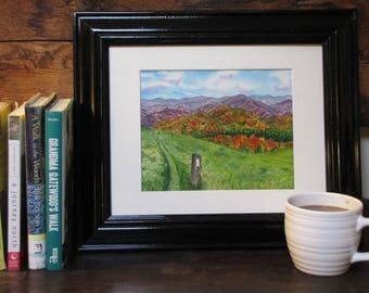 "Max Patch on the Appalachian Trail - Original 8x10"" Watercolor Painting"