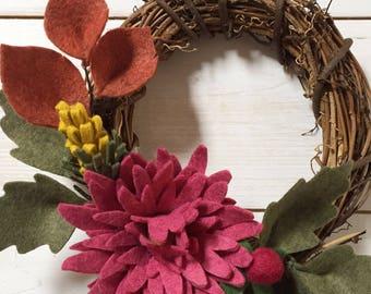 Felt flower mini wreath - autumn/fall