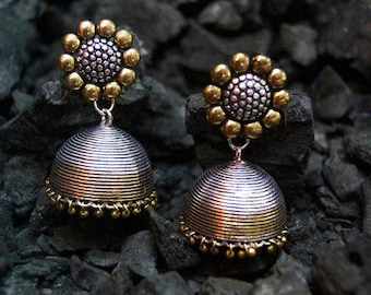 Rubans Oxidised Silver & Antique Gold-Toned Dome-Shaped Earring Jhumkas. Jewellery