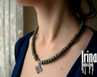 Sale Green ceramics beads necklace with cross. Folk Ukrainian bead necklace to vyshyvanka. Svarga. Cross necklace. Cross pendant. Ethnic sty