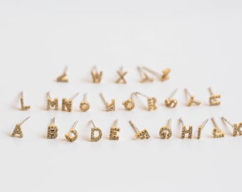 cz initial earrings -3 letter earrings,gold initial earrings,initial earrings gold,initial stud earrings,alphabet earrings,initial earrings